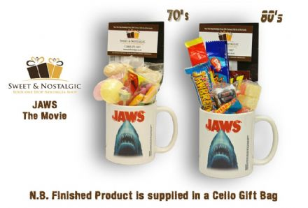 Jaws Movie Mug with/without a Scary selection of 70s or 80's retro sweets.